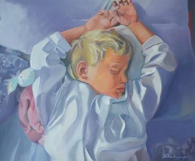 Sleeping boy, oil on canvas 2013, Maria Viidalepp