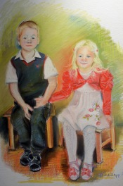 phsh.Brother and sister, pastel on canvas board, Maria Viidalepp 2015